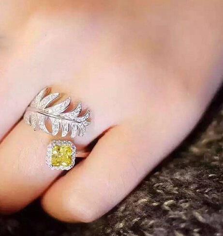 Inel Luxury Leaf Yellow by Borealy ajustabil 1