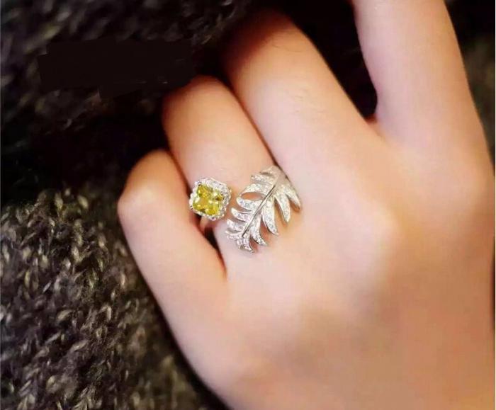 Inel Luxury Leaf Yellow by Borealy ajustabil 3