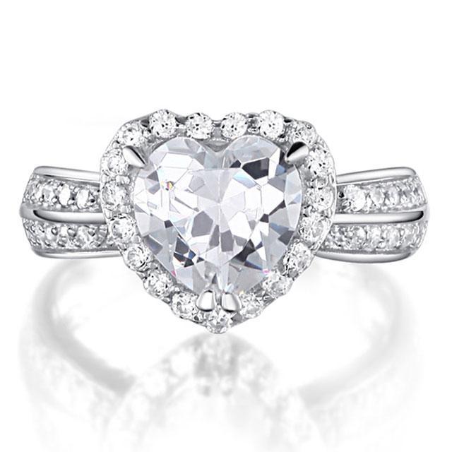 Inel Borealy Argint 925 Simulated Diamond Heart Silver Marimea 6 0