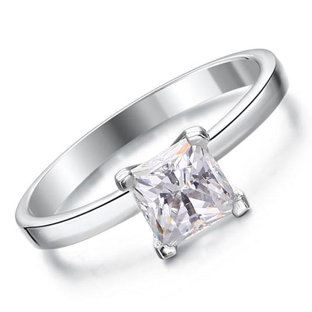 Inel Borealy Argint 925 Simulated Diamond Logodna Princess Marimea 7-big