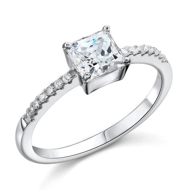 Inel Borealy Argint 925 Simulated Diamond ZIRCONIA Logodna Princess Lux Marimea 7-big