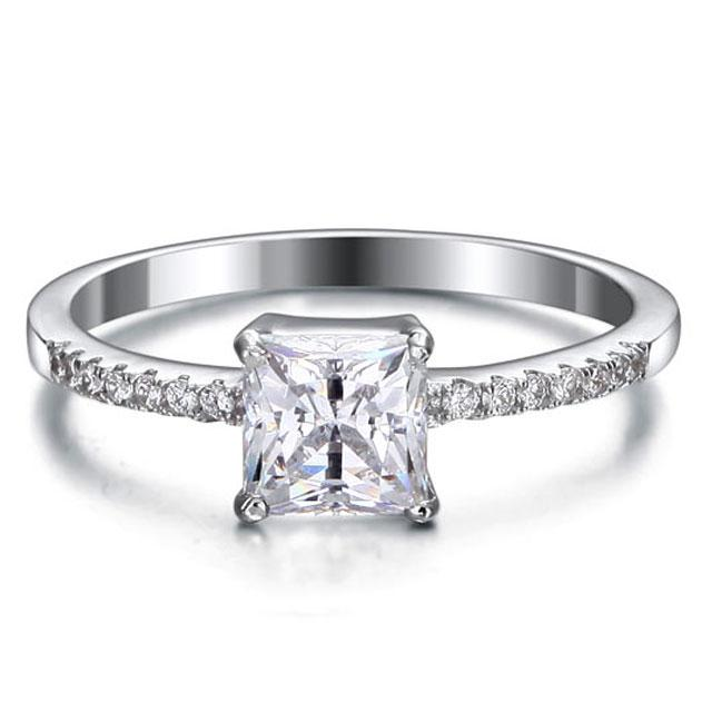 Inel Borealy Argint 925 Simulated Diamond ZIRCONIA Logodna Princess Lux Marimea 7 1