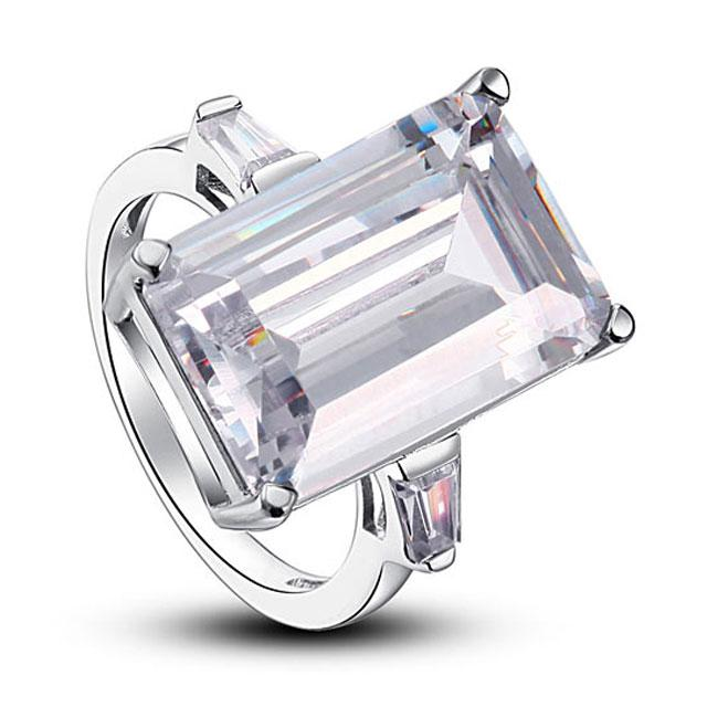 Inel Borealy Argint 925 Simulated Diamond 8.5 Carat Emerald Cut Luxe Marimea 6 5