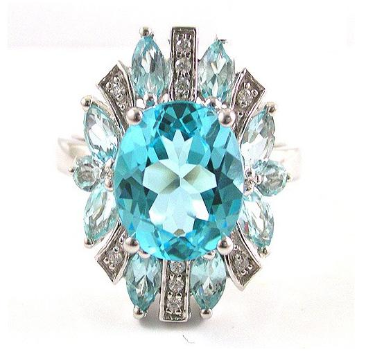 Inel Luxury Blue Topaz 6 carate - pietre pretioase naturale Argint 925 1