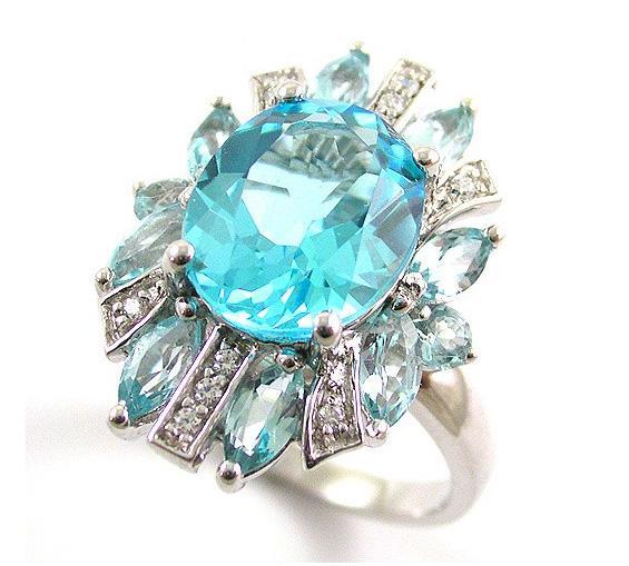 Inel Luxury Blue Topaz 6 carate - pietre pretioase naturale Argint 925 2