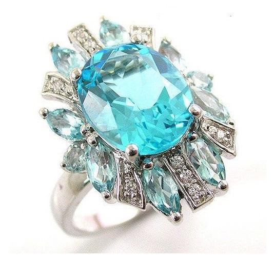 Inel Luxury Blue Topaz 6 carate - pietre pretioase naturale Argint 925 3
