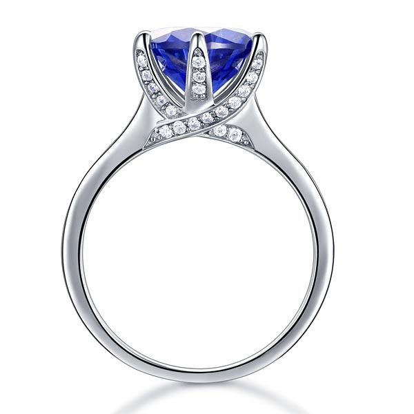 Inel Borealy Argint 925 Blue Simulated Tanzanite 3 Carat Luxury Ring Marimea 6 5