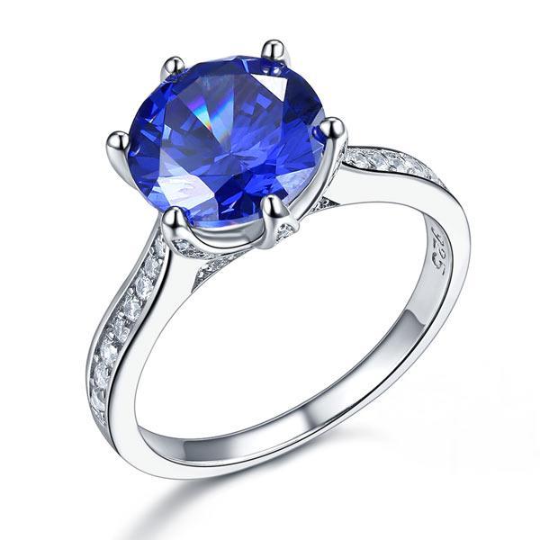 Inel Borealy Argint 925 Blue Simulated Tanzanite 3 Carat Luxury Ring Marimea 6 0