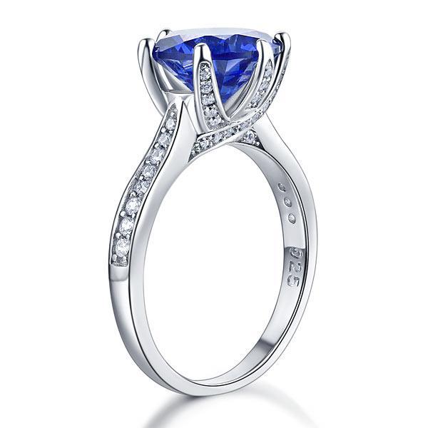Inel Borealy Argint 925 Blue Simulated Tanzanite 3 Carat Luxury Ring Marimea 6 3