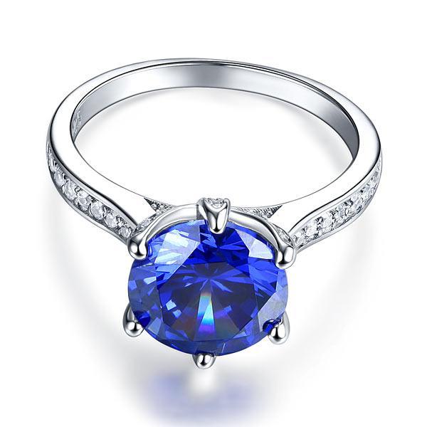 Inel Borealy Argint 925 Blue Simulated Tanzanite 3 Carat Luxury Ring Marimea 6 4