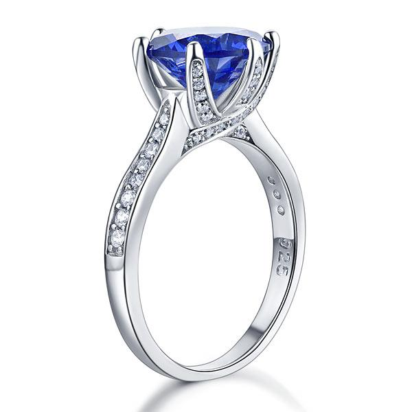 Inel Borealy Argint 925 Blue Simulated Tanzanite 3 Carat Luxury Ring Marimea 7 5