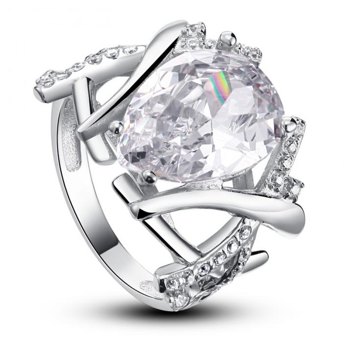 Inel Borealy Argint 925 Simulated Diamond 4 carate Marquise Pear Marimea 6-big