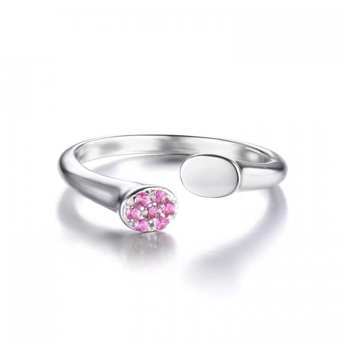 Inel Pink Safir Wrap Stackable ajustabil 1
