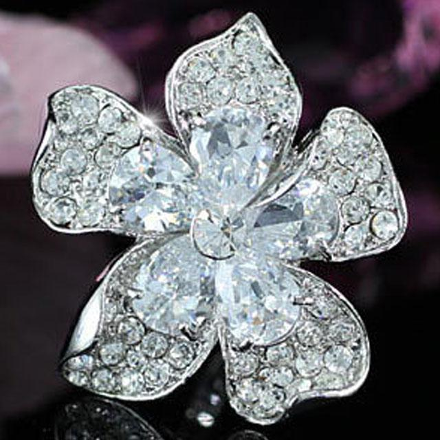 Inel Borealy Crystal Pear Cut 12 carate Queen Flower 5