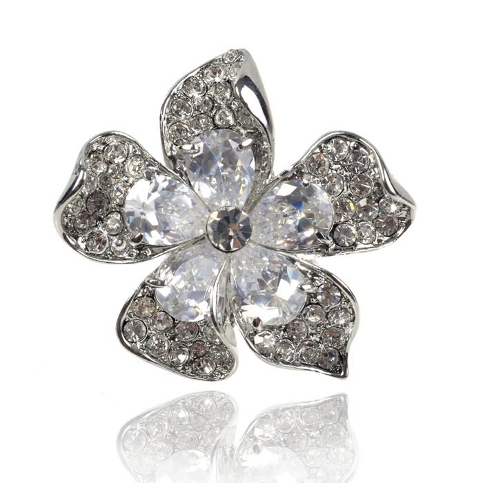 Inel Borealy Crystal Pear Cut 12 carate Queen Flower 0