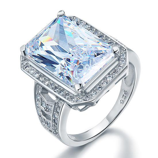 Inel Borealy Argint 925 Simulated Diamond Radiant Cut Created Marimea 7-big