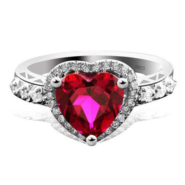 Inel Borealy Argint 925 Rubin 3 carate Red Love Marimea 6-big