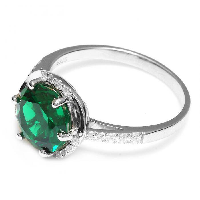 Inel Round Luxury Smarald 3 carate Argint Borealy Marimea 6,5 3