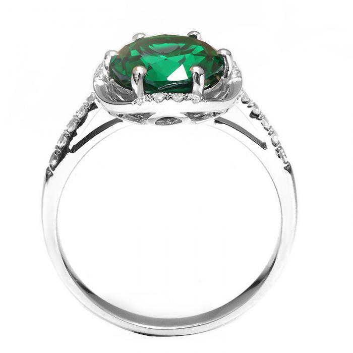 Inel Round Luxury Smarald 3 carate Argint Borealy Marimea 6,5 2