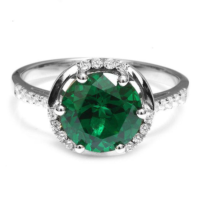 Inel Round Luxury Smarald 3 carate Argint Borealy Marimea 6,5-big