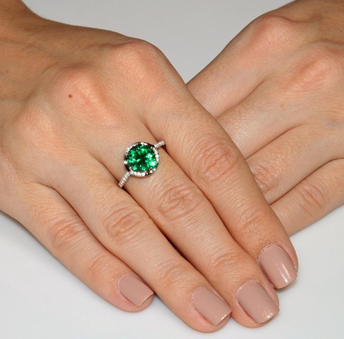 Inel Round Luxury Smarald 3 carate Argint Borealy Marimea 8-big
