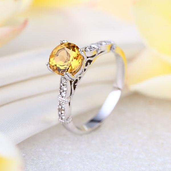 Inel Borealy Aur Alb 14K 1.2 CT Citrine Natural Diamonds Vintage Style-big