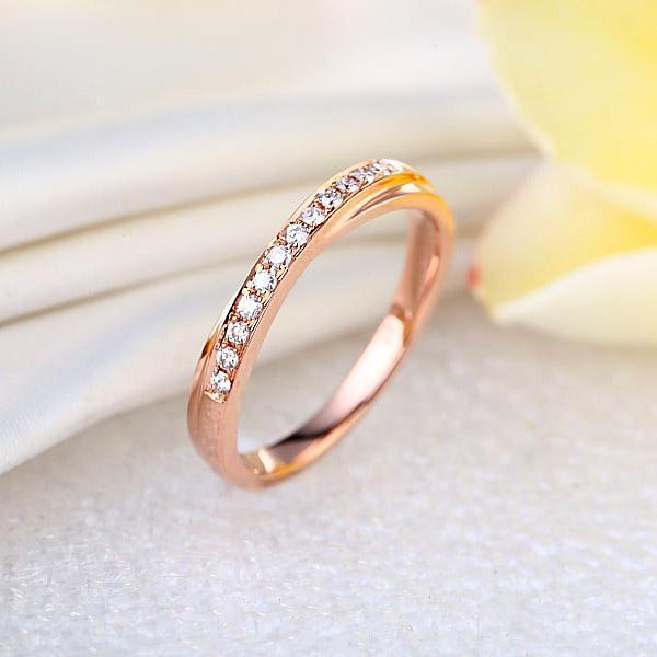 Inelul Borealy Aur Roz 18 K Natural Diamonds Women's Style Twisted Band-big