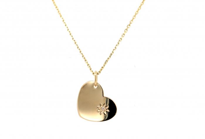 Pandantiv aur galben 14k cu diamant natural - personalizabil-big