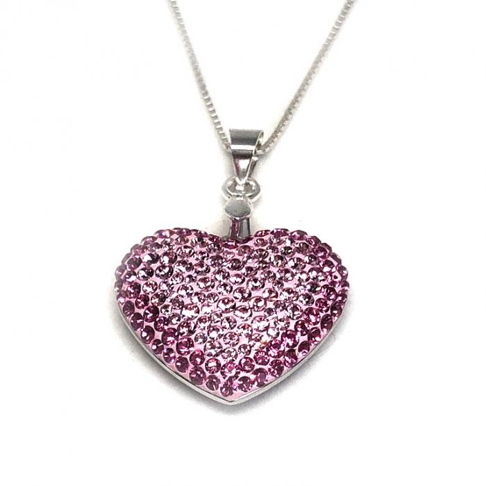 Inima Swarovski Phantasya Pink & Lantisor Argint 925 0