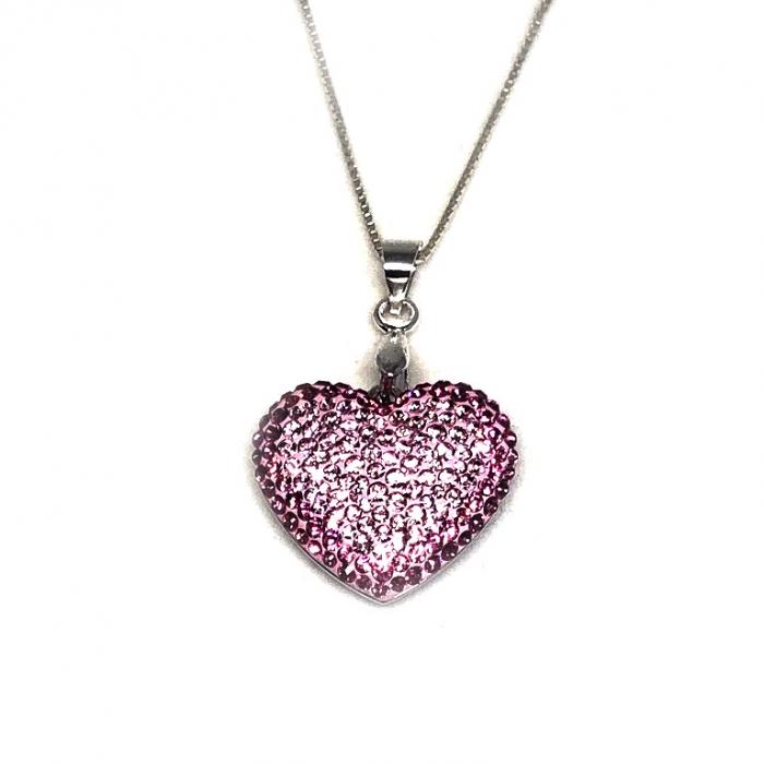 Inima Swarovski Phantasya Pink & Lantisor Argint 925 3