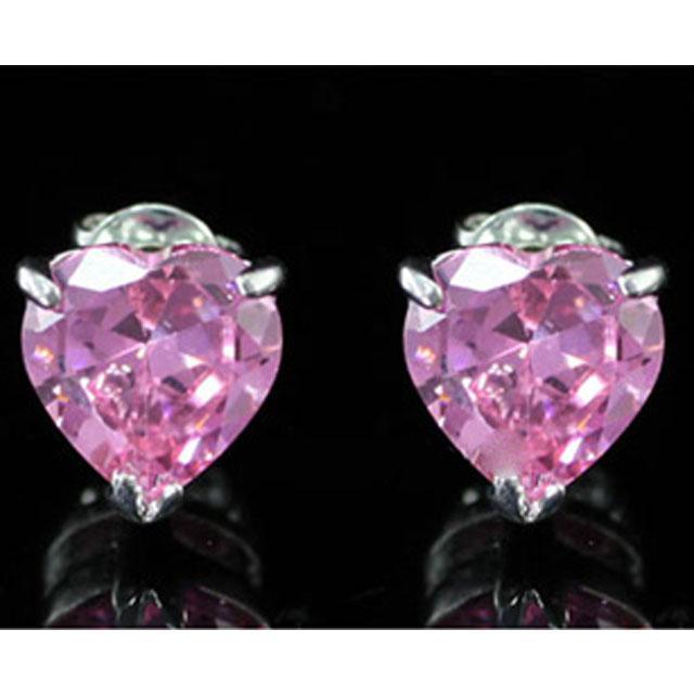 Cercei Studs Sapphire Heart Pink 3