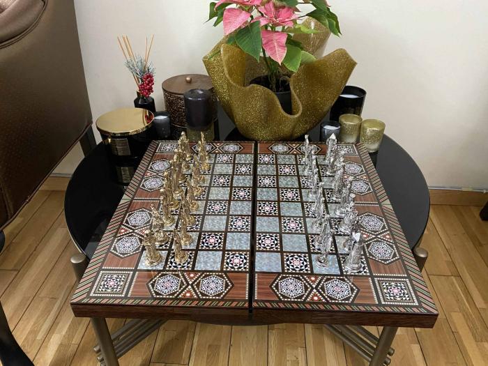 Joc de SAH si TABLE cu insertii de sidef, piese sah din metal AURII/ARGINTII sculptate manual, calitate premium 14