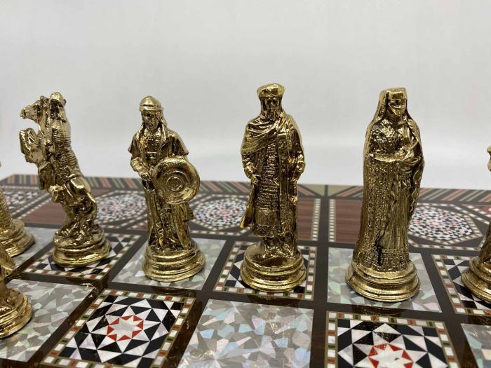 Joc de SAH si TABLE cu insertii de sidef, piese sah din metal AURII/ARGINTII sculptate manual, calitate premium [13]