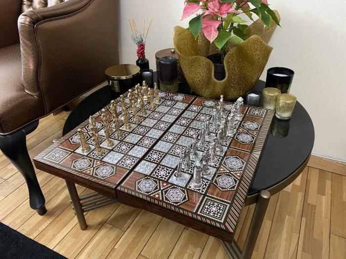 Joc de SAH si TABLE cu insertii de sidef, piese sah din metal AURII/ARGINTII sculptate manual, calitate premium 15