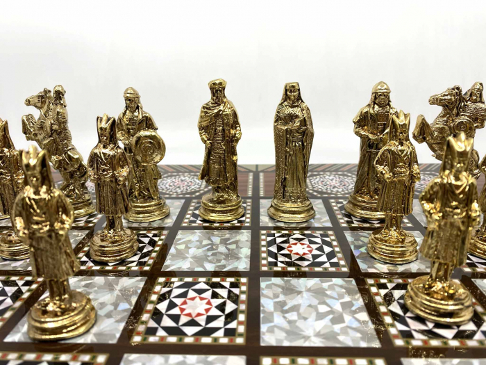 Joc de SAH si TABLE cu insertii de sidef, piese sah din metal AURII/ARGINTII sculptate manual, calitate premium [2]