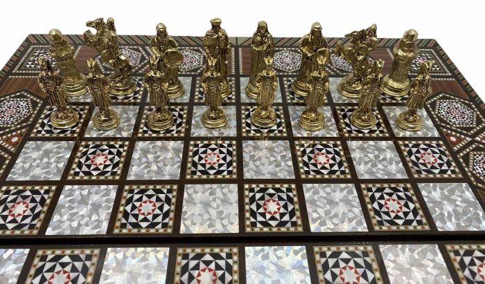Joc de SAH si TABLE cu insertii de sidef, piese sah din metal AURII/ARGINTII sculptate manual, calitate premium [4]