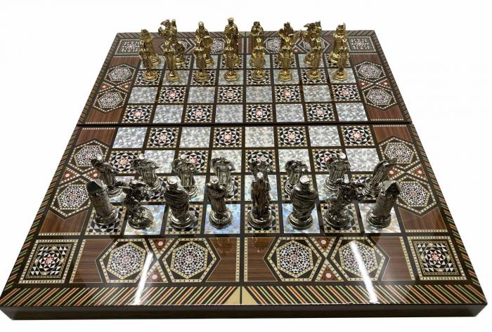 Joc de SAH si TABLE cu insertii de sidef, piese sah din metal AURII/ARGINTII sculptate manual, calitate premium 1