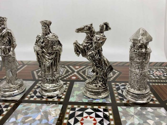 Joc de SAH si TABLE cu insertii de sidef, piese sah din metal AURII/ARGINTII sculptate manual, calitate premium 6
