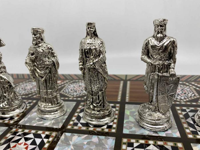 Joc de SAH si TABLE cu insertii de sidef, piese sah din metal AURII/ARGINTII sculptate manual, calitate premium 7
