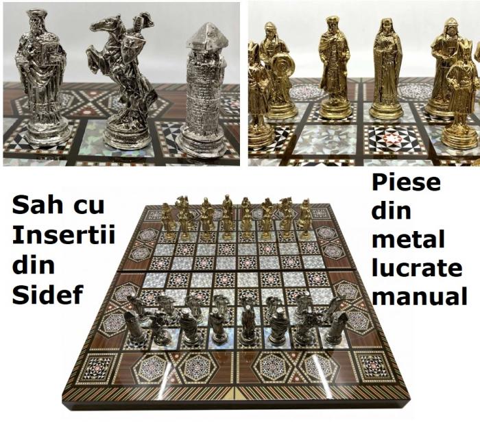 Joc de SAH si TABLE cu insertii de sidef, piese sah din metal AURII/ARGINTII sculptate manual, calitate premium 0