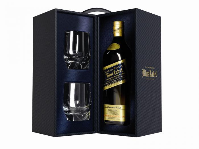 Johnnie Walker Blue Label set cu 2 Pahare Cristal 2