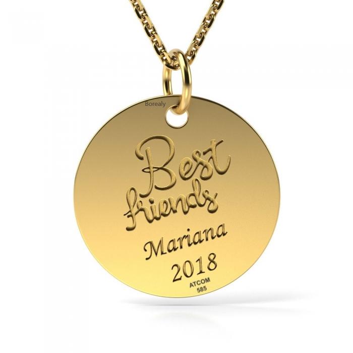 Lantisor cu Pandantiv Best Friends Aur galben 14 kt personalizabil-big