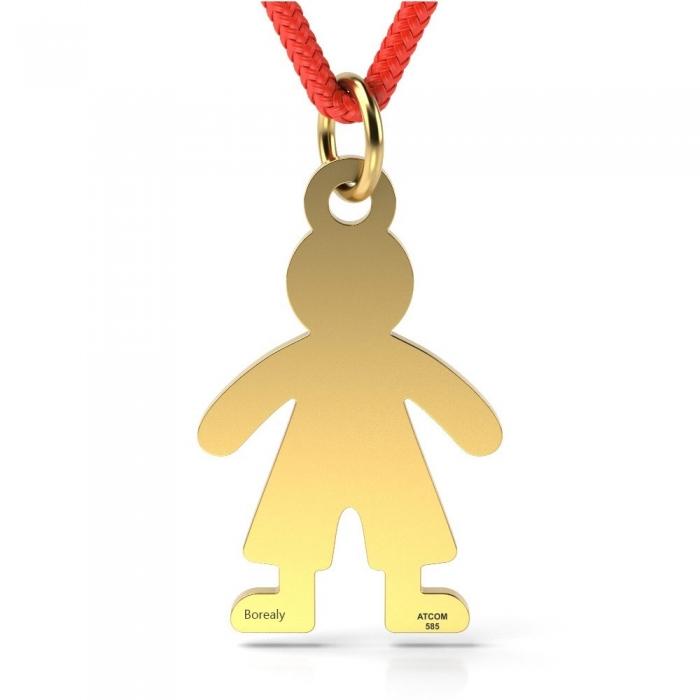 Pandantiv Baietel cu Snur reglabil din Aur galben 14 kt personalizabil-big