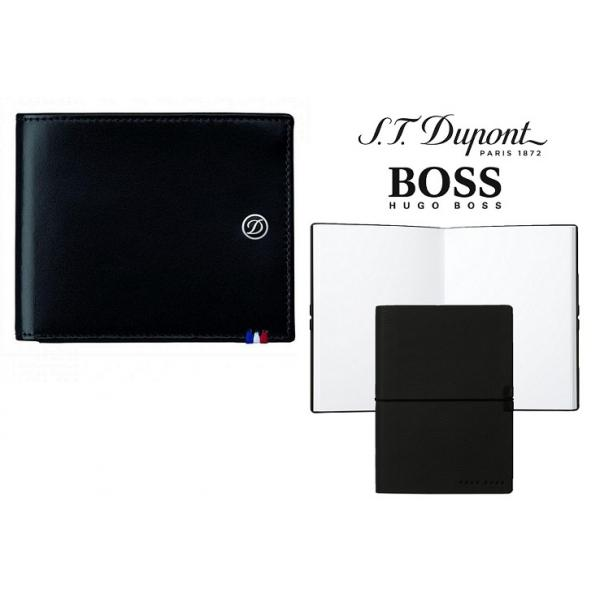 Set Leather Wallet Bank Note Black S.T. Dupont si Note Pad Black Hugo Boss 0