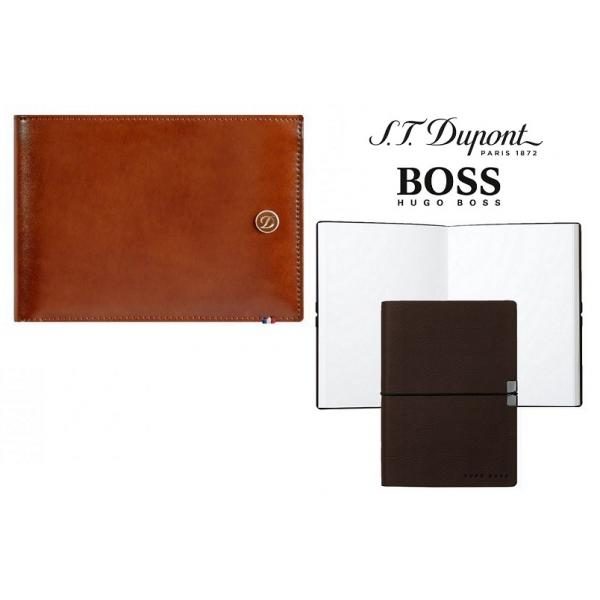 Set Leather Wallet Bank Note Brown S.T. Dupont si Note Pad Burgundy Hugo Boss 0