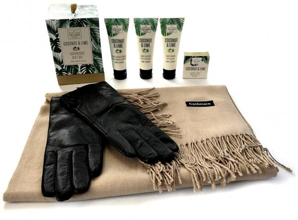 Luxurious Gift Esarfa Casmir, Mănuşi Piele naturală & Cosmetice Coconut & Lime Scottish Fine Soaps - personalizabil-big