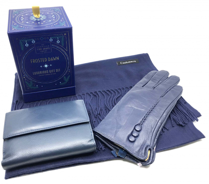 Luxurious Winter Blue Esarfa Casmir, Portofel si Manusi Piele Naturala & Cosmetice Frosten Down Scottish Fine Soaps-big