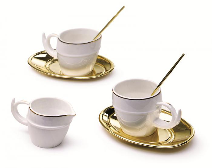 Luxury Gold Coffee Set for 2 by Chinelli - Made in Italy-big