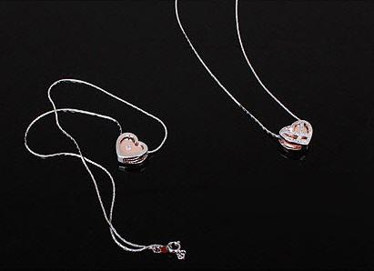 Diamond Heart White & Pink Set Medalion s Cercei y Borealy 4