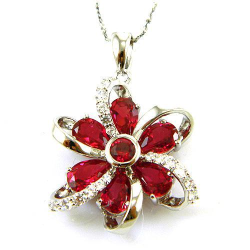 Cercei şi medalion Flower Rubin by Borealy Argint 925 2